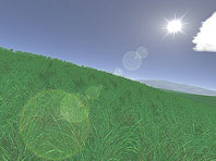Green Fields 3D screensaver screenshot. Click to enlarge